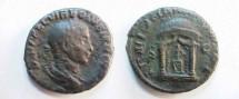 Ancient Coins - Volusian Æ Sestertius.  IVNONI MARTIALI SC, Juno seated facing in domed distyle temple.