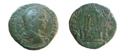 Ancient Coins - Caracalla AE29 of Augusta Traiana, Thrace.  Tetrastyle temple with domed roof, statue of Aesklepios within, trees on either side.