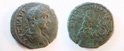 Ancient Coins - Elagabalus AE28 of Nikopolis, Moesia Inferior. Triptolemos riding right in biga of Dragons!