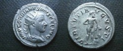 Ancient Coins - Gordian III Antoninianus.  VIRTVTI AVGVSTI, Hercules standing right leaning on club set on rick.