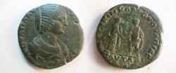 Ancient Coins - Plautilla AE29 of Pautalia. Plautilla & Caracalla standing, togate, clasping hands.