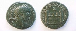 "Ancient Coins - Septimius Severus Æ27 of Anchialus. City gate with two conical towers, no visible door, <font face=""SYMBOL"">D</font> above."