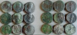 Ancient Coins - Lot of 9 Beautiful unattributed Roman Sestertius.