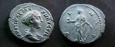 Ancient Coins - Faustina Junior Denarius.  VENVS, Venus standing left, holding apple & rudder, dove at foot.