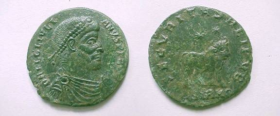 Ancient Coins - Julian II AE2.  SECVRITAS REIPVB, Apis Bull standing rtight, two stars above, ASIRM(wreath) in ex.