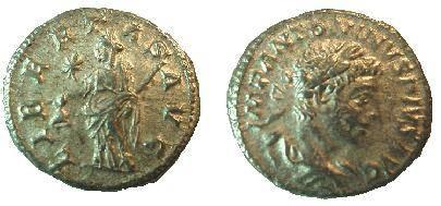 Ancient Coins - Elagabalus Denarius.  LIBERTAS AVG, Libertas standing left holding cap & scepter, star in field.