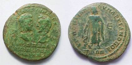 Ancient Coins - Macrinus and Diadumenian Æ28 Pentassarion of Markianopolis.  Aesklepios standing left, leaning on serpent-staff, mantle draped over arm, font face=