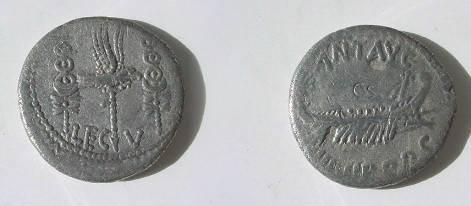 Ancient Coins - Marc Antony AR Denarius,  32-1 BC.  LEG V.