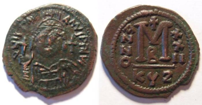 Ancient Coins - Justinian I AE Follis, Cyzicus mint.ANNO XXII .EF