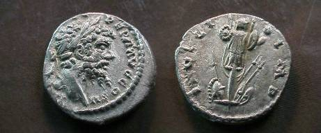 Ancient Coins - Septimius Severus Denarius.  INVICTO IMP, trophy with arms below.