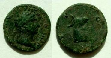 Ancient Coins - Trajan AE18 of Deultum, Thrace.  C F P D, head of a bull right.