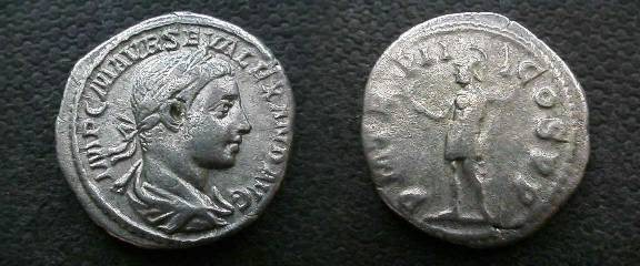 Ancient Coins - Severus Alexander Denarius.  P M TR P II COS P P, Mars standing with branch & inverted spear.