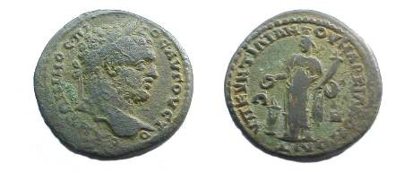Ancient Coins - Caracalla AE28 Pentassarion of Markianopolis.  Concordia standing left sacrificing over lit altar to left from patera, holding cornucopiae.