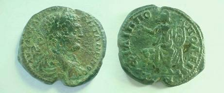 Ancient Coins - Caracalla AE30 of Philippopolis, Thrace.  Apollo enthoned right, holding branch and lyre.
