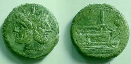 Ancient Coins - Anonymous Post-Reform AE As.  Janus / Prow with I above.