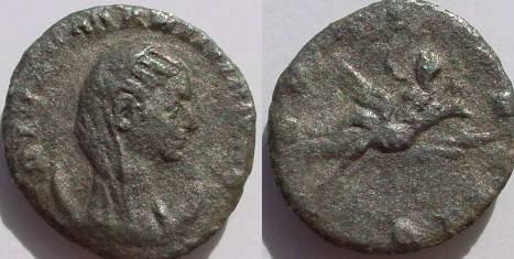Ancient Coins - Mariniana AR Antoninianus.  CONSECRATIO, peacock flying right, carrying Mariniana, veiled, with raised hand & scepter.
