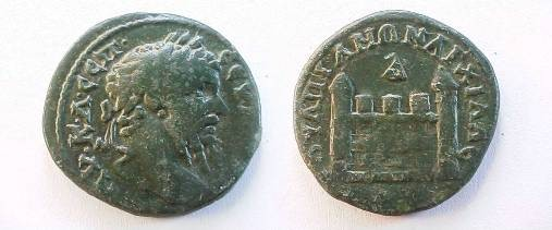 Ancient Coins - Septimius Severus Æ27 of Anchialus. City gate with two conical towers, no visible door, D above.