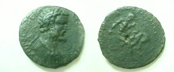 Ancient Coins - Septimius Severus AE32 of Pautalia, Thrace. Hercules right wrestling the Namean lion.