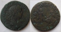 Ancient Coins - Caracalla AE28 of Pautalia, Thrace.Dancing satyr r., naked, clasping hands with seated female figure