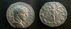 Ancient Coins - Elagabalus . AR Antoninianus.  MARS VICTOR, Mars with flowing cloak, advancing right with spear and trophy.