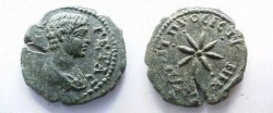 Ancient Coins - Geta AE20 of Nikopolis ad Istrum.  Star with seven rays.