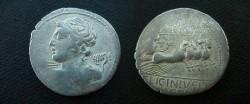 Ancient Coins - C Licinius Lf Macer Denarius,  84 BC.  Minerva in quadriga right with javelin & shield; C LICINIVS L F MACER in two lines in ex.