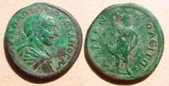 Ancient Coins - Gordian III AE26 of Hadrianopolis. Serapis standing left, holding long staff & raising right arm.