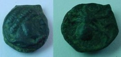 Ancient Coins - Syracuse ,Sicily, AE11.(1.2g.)/,Octopus, late 5. Century BC