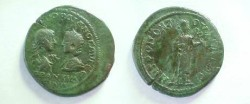 Ancient Coins - Gordian III & Tranquillina AE29 of Tomis, Moesia Inferior.  Hygeia standing right, feeding serpent held in her arms.