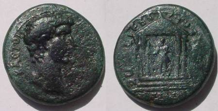 Ancient Coins - Claudius Æ 18mm of Pergamom, Mysia.  Tetrastyle temple enclosing statue of Augustus