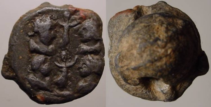 Ancient Coins - Roman Led Seal  Circa 100 - 200 AD.with 4 portraits, probably of some dignitaries and two statuete!!.