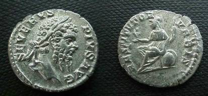 Ancient Coins - Septimius Severus Denarius.  RESTITVTOR VRBIS, Roma seated left on sheild, holding Victory and scepter.