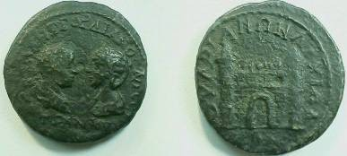 Ancient Coins - Gordian III & Tranquillina AE26 of Anchialos, Thrace.  Town gate with two towers.