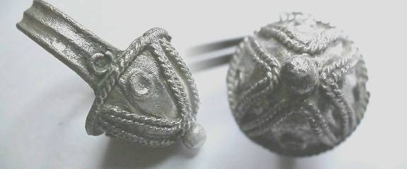 Ancient Coins -  Bizantine  silver ring, dome shaped with intricate filigree work and a pearl-like button at the apex.  Size 9.