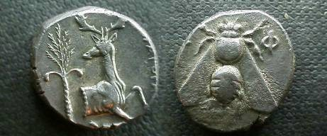 Ancient Coins - Ionia, Ephesos.  Forepart of a stag right, palm tree left; magistrate DHMAGORHS to right.