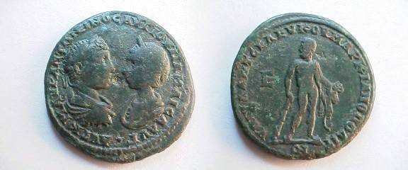 Ancient Coins - Elagabalus & Julia Maesa AE28 of Markianopolis.  Hercules standing facing, head left, leaning on club and holding Apples of the Hesperides, E to left.