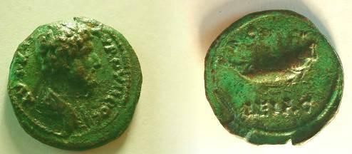 Ancient Coins - Lucius Verus AE20 of Bithynia, Nicomedia. Fish right.
