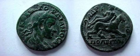 Ancient Coins - Gordian III AE28 of Hadrianopolis, Thrace.  Dionysos, holding thyrsos, riding right on panther.