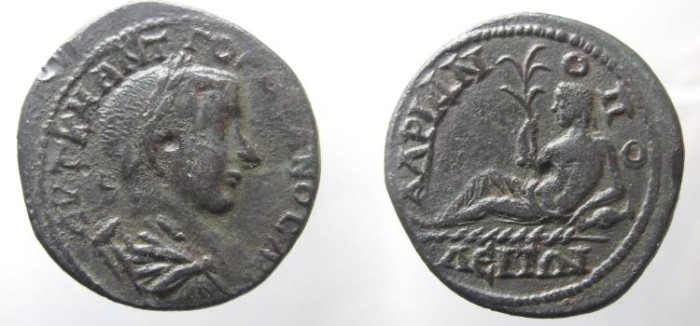 Ancient Coins - Gordian III AE26 of Hadrianopolis. River-god reclining left, holding palm-tree with 6 branches, left arm resting on urn.