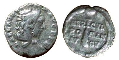 Ancient Coins - Commodus Denarius.  HERCVL ROMAN AVG V, club of Hercules, all in wreath.