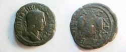 Ancient Coins - Maximinus Thrax AE26 of Anchialus, Thrace. Dolphin between two fish.