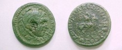 "Ancient Coins - Koinon of Macedon Æ 26.  KOINON MAKE<font face=""""SYMBOL"""">DONWN B NEWKORWN</font>, horseman charging right, mantle waving behind, beneath dog running right."