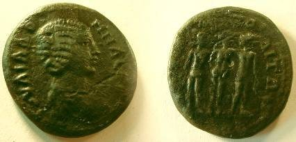 Ancient Coins - Julia Domna Æ22 of Marcianopolis, Moesia Inferior.  MARKIANOROLEITWN, statuary group of the Three Graces.