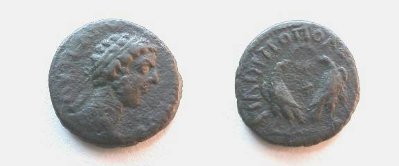 Ancient Coins - Commodus AE18 of Philippopolis, Thrace.  Two eagles walking left and right, heads reverted and holding wreath in their beaks.