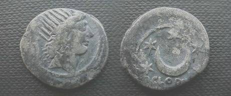 Ancient Coins - P Clodius Mf Turrinus Denarius,  42 BC.  Crescent moon and five stars.