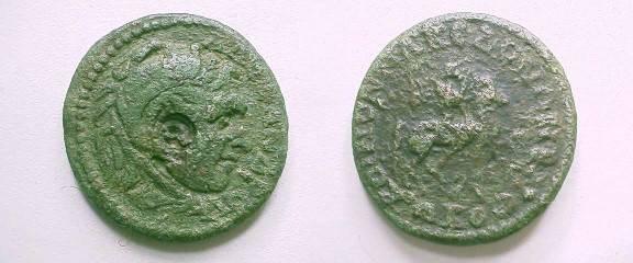 Ancient Coins - Koinon of Macedon Æ 26.  KOINON MAKEDONWN B NEWKORWN, horseman charging right, mantle waving behind, beneath dog running right.