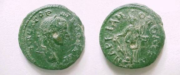Ancient Coins - Gordian III AE22 of Markianopolis. Fortuna standing left with rudder & cornucopiae.