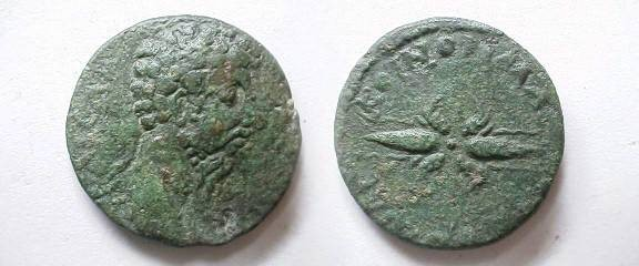 Ancient Coins - Marcus Aurelius AE27 of the province of Macedonia.  Thunderbolt.