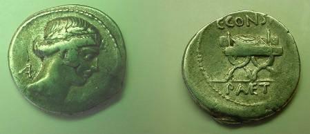 Ancient Coins - C Considius Paetus Denarius,  46 BC.  Curule chair, garlanded, on which lies wreath, C CONSIDI above, PAETI in ex.