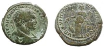 Ancient Coins - Caracalla AE28 of Markianopolis. Fortuna standing left with rudder & cornucopiae.
